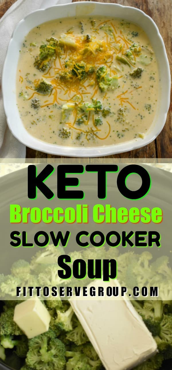 This recipe for keto broccoli cheese soup is made in a slow cooker. It's a hearty soup thickened only with cheese and is a satisfying comfort soup that's perfect for the entire family to enjoy. keto broccoli cheese soup |keto soup |Keto slow cooker soup |low carb broccoli cheese soup| low carb soup| Keto soups| low carb soups