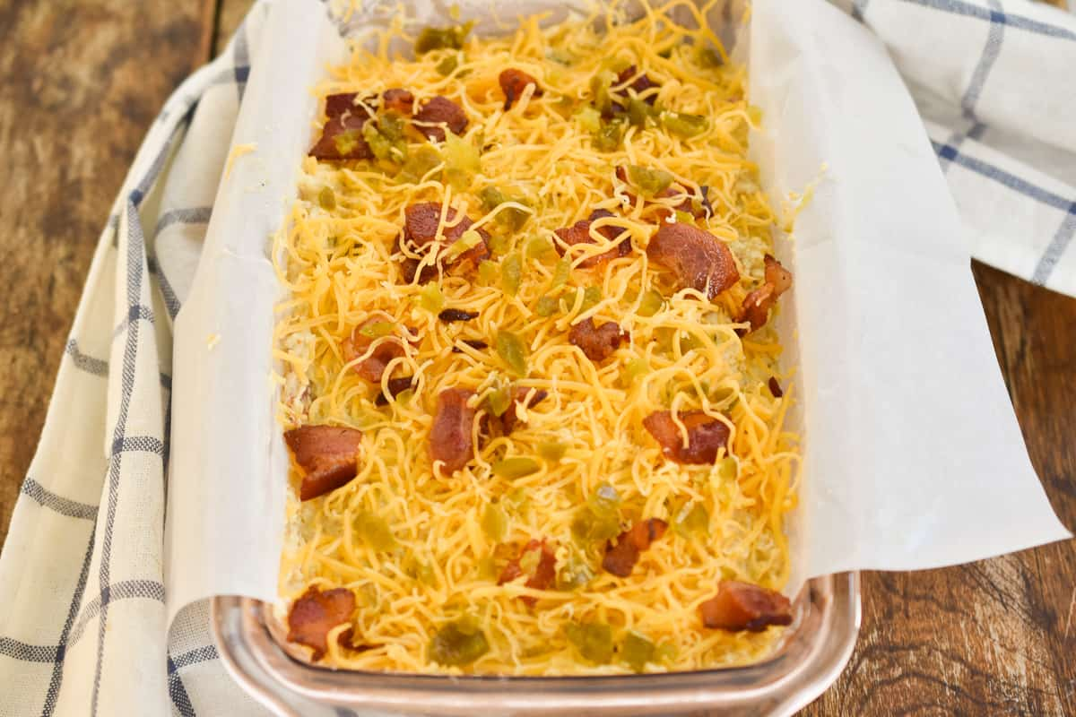 Keto jalapeno bacon cheese bread before baked
