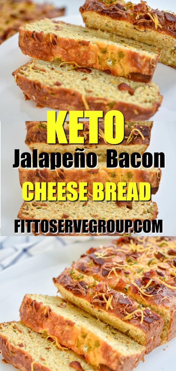 Keto  Jalapeño Bacon Cheese Bread has a rich cheesy, slightly spicy and smoky bacon flavor. It's perfect as side, for a quick breakfast. Or toasted for sandwiches.  #ketobread #lowcarbbread #ketocheesebread #lowcarbcheesebread