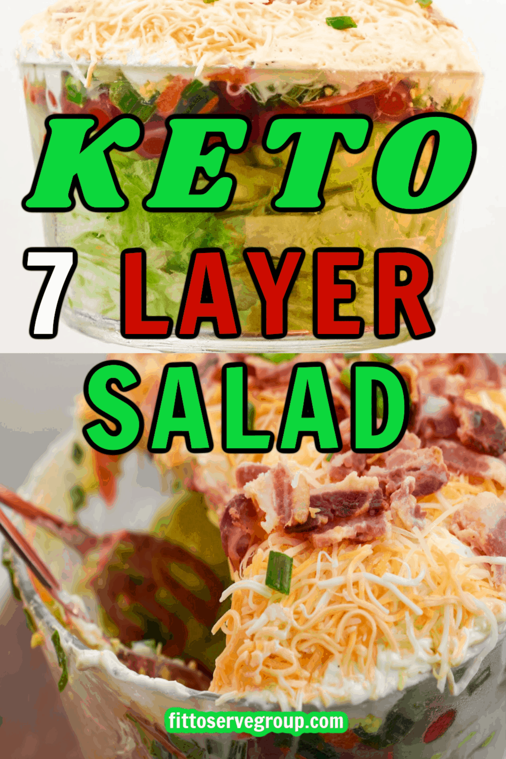 Keto 7 Layer Salad being served out of clear salad bowl