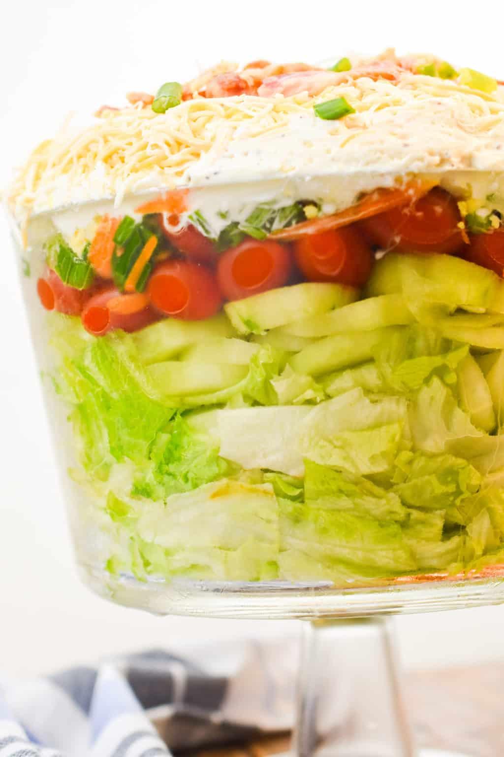 keto 7 layer salad close up