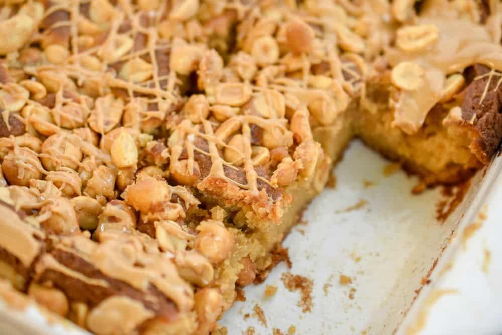 Keto Peanut butter cake bars sliced