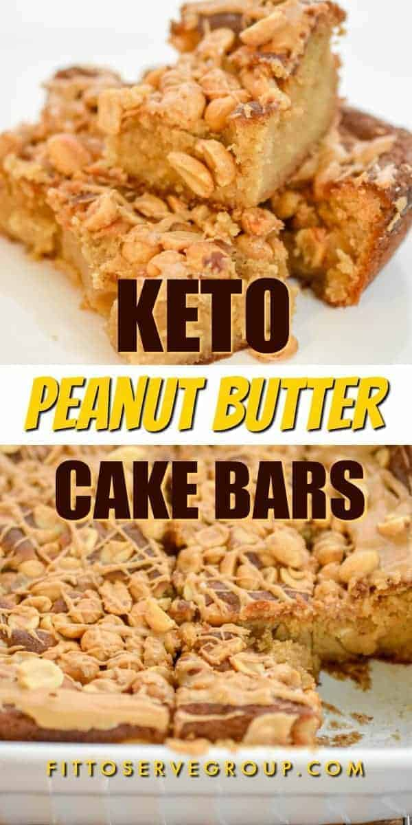 Keto Peanut butter cake bars pin