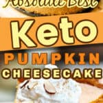 Low carb pumpkin cheesecake in a fall table setting