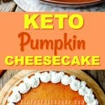 This delicious recipe for Keto Pumpkin Cheesecake Pie is low in carbs and keto-friendly. The perfect solution for pumpkin season while doing keto. keto pumpkin pie|low carb pumpkin pie| keto pumpkin cheesecake pie| Keto pumpkin cheesecake|low carb pumpkin cheesecake
