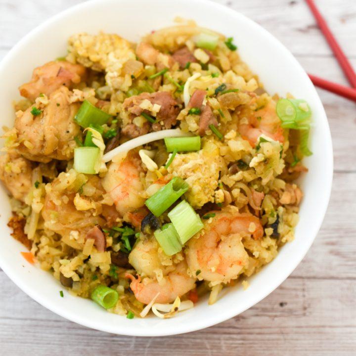 cauliflower keto fried rice in a white bowl