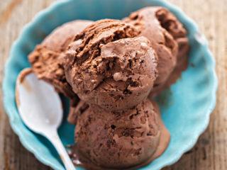 keto mocha coconut milk vegan ice cream served in an aqua bowl