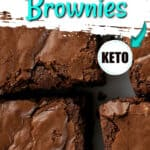 image of keto coconut flour brownies close up next to each other on a white plate