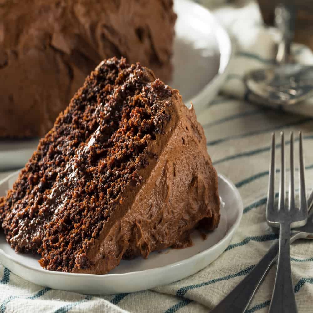 Keto Hershey's Chocolate Cake, frosted