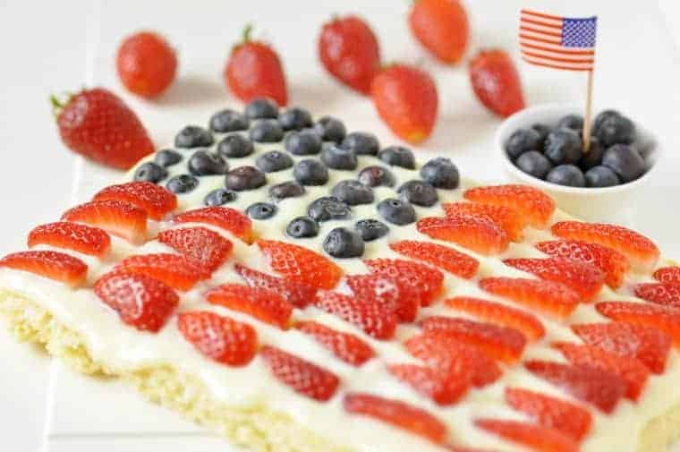 Keto 4th of July Poke Cake a cake in the form of an American flag using berries