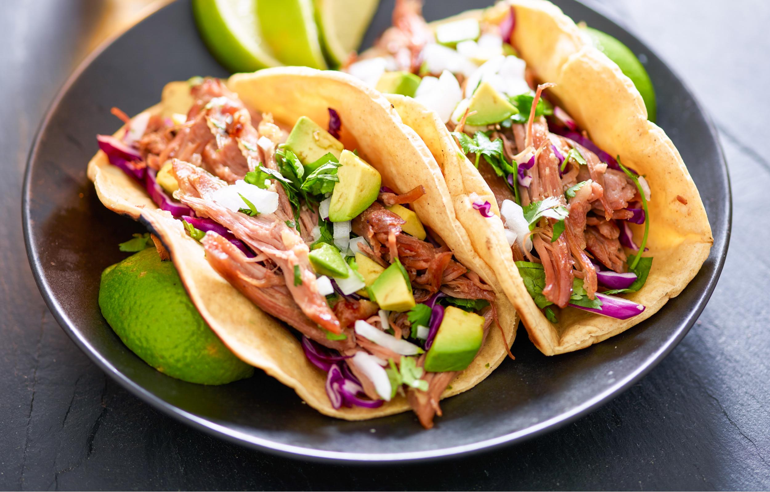 keto carnitas tacos with keto tortillas