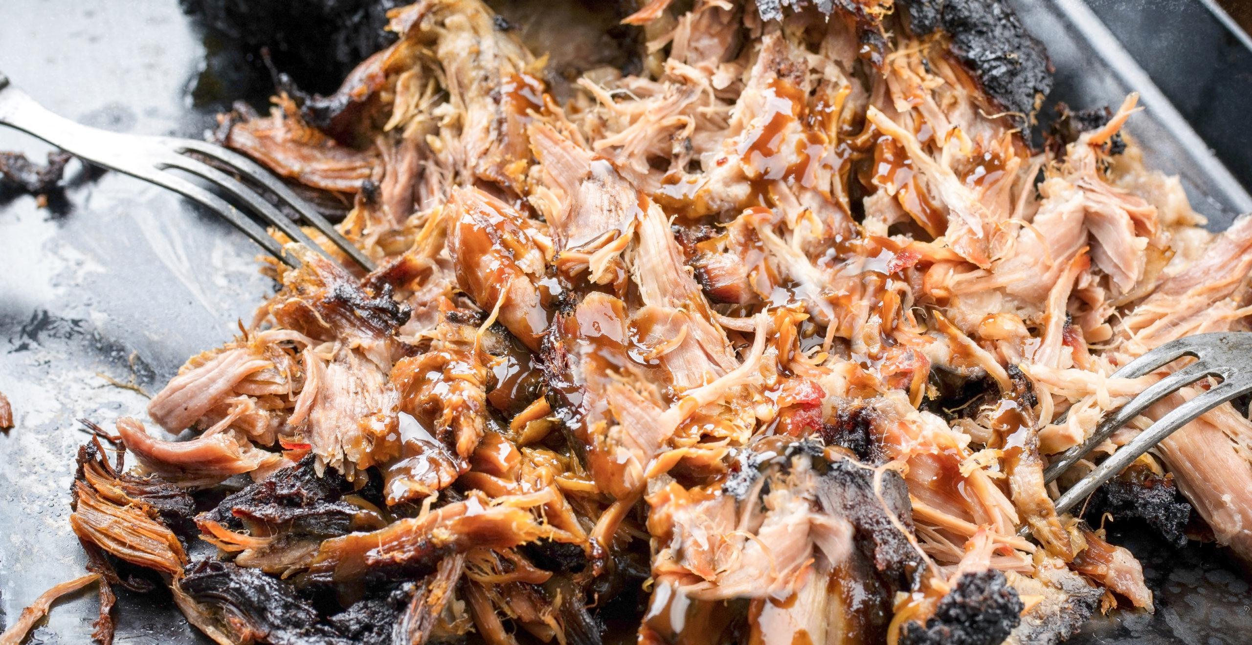 keto pulled mojo pork on a baking sheet