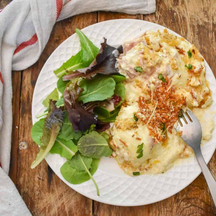 keto chicken cordon bleu casserole served with salad
