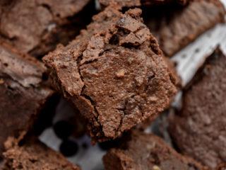 keto mocha blackout brownies stacked close up