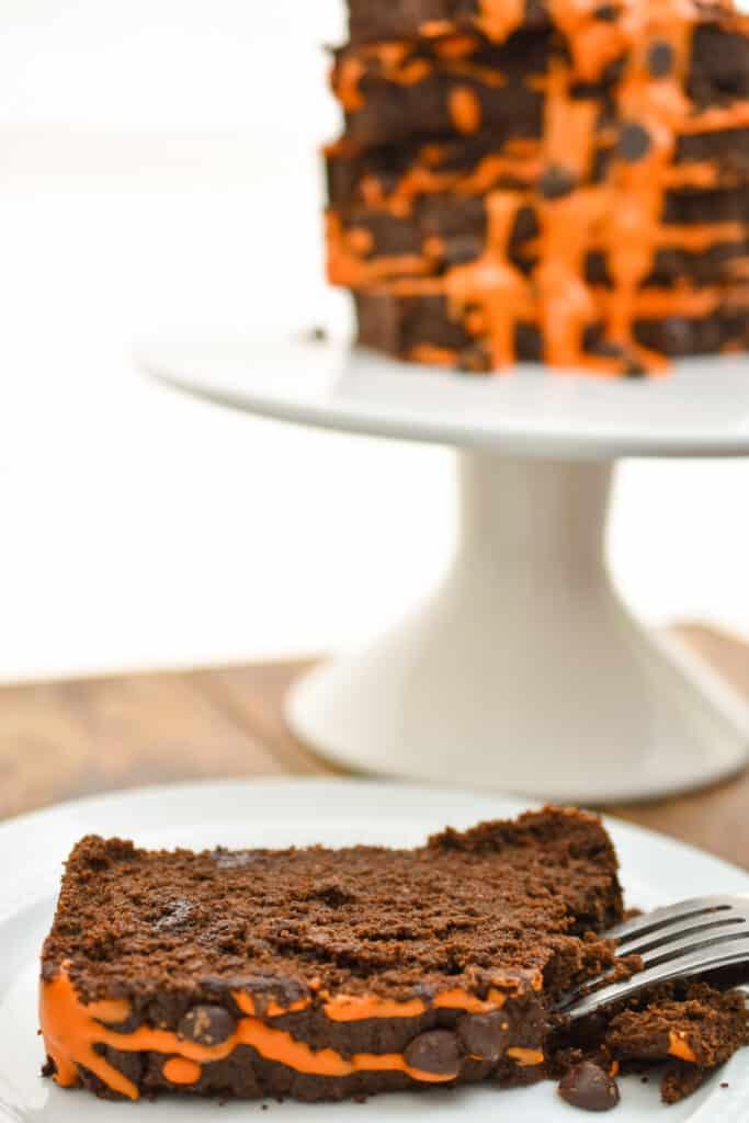 keto pumpkin chocolate pound cake displayed