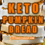 Keto pumpkin bread with cream cheese frosting sliced and stacked on a white plate