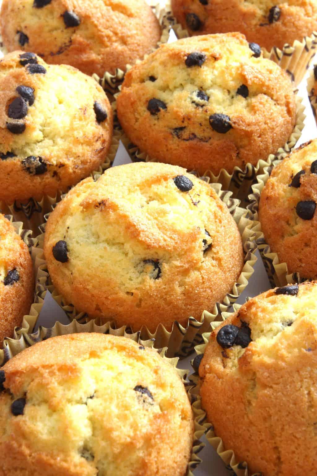 Keto chocolate chip muffins on platter