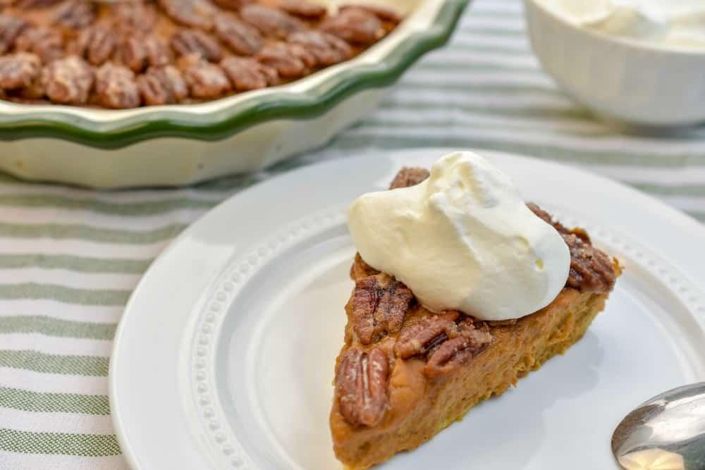 Keto pumpkin pecan glazed pie