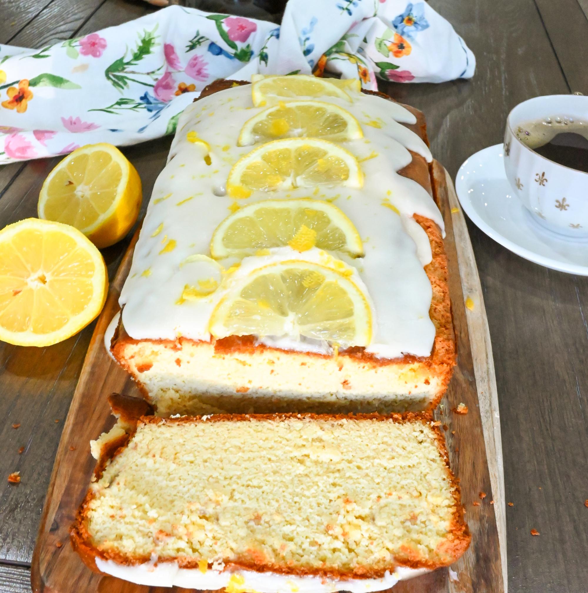 keto lemon pound cake loaf sliced