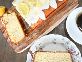 top view of a keto lemon pound cake