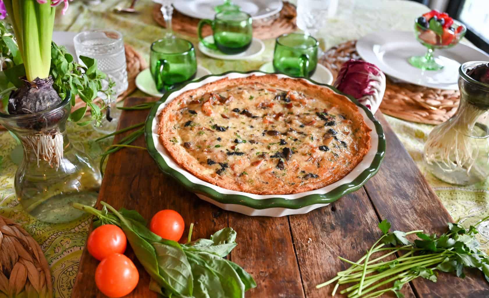 Keto gluten free quiche ready to serve to company