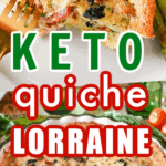 Keto Quiche Lorraine baked in a green lined pie plate and served on a white plate