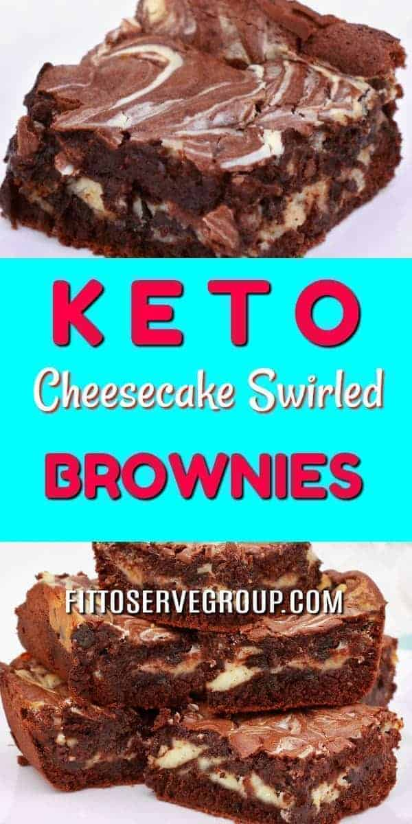 My recipe for keto cream cheese swirled brownies has the best qualities of both a cheesecake and a brownie. They are rich, fudgy brownies that feature a generous swirl of cheescake. And frankly the make one delicious keto treat. Keto Brownies| Keto Cheesecake Swirled Brownies| Low Carb Brownies| Keto Cream Cheese Brownies