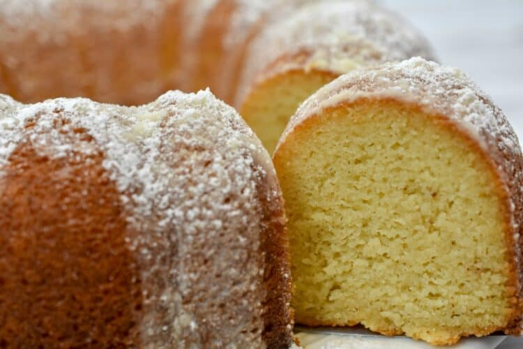 Keto brown butter cake baked in a bundt pan