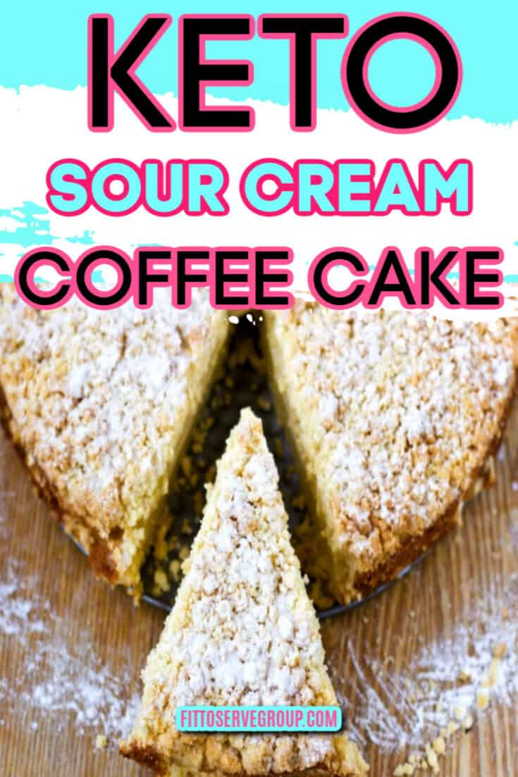 Enjoy a recipe for keto sour cream coffee cake that is sure to become a favorite. It features a generous topping of streusel for one delightful keto treat. #ketosourcreamcoffeecake #ketocoffeecake #lowcarbcoffeecake #sugarfreecoffeecake