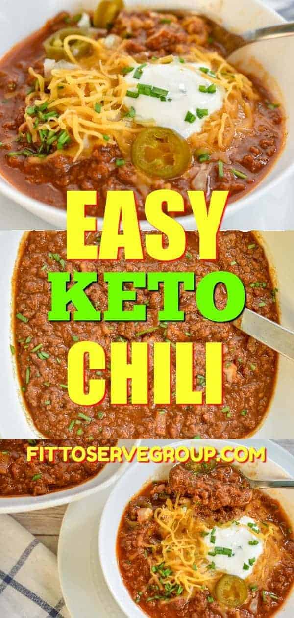 It's our family recipe for easy Keto Chili. It's packed with bold Tex Mex flavors. #ketochili #lowcarbchili #easyketochili #beanlesschili