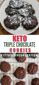 This recipe forKeto Triple Chocolate Cookieswas made with chocolate lovers in mind. They are grain-free, gluten-free, sugar-freeLow CarbChocolate Cookies that are also decadently rich. #ketocookies #ketochocolatecookies #lowcarbchocolatecookies