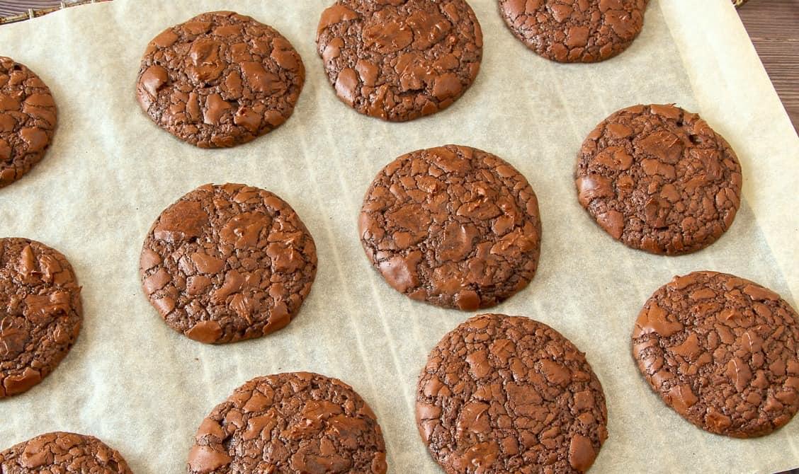 Keto triple chocolate cookies on a baking rack