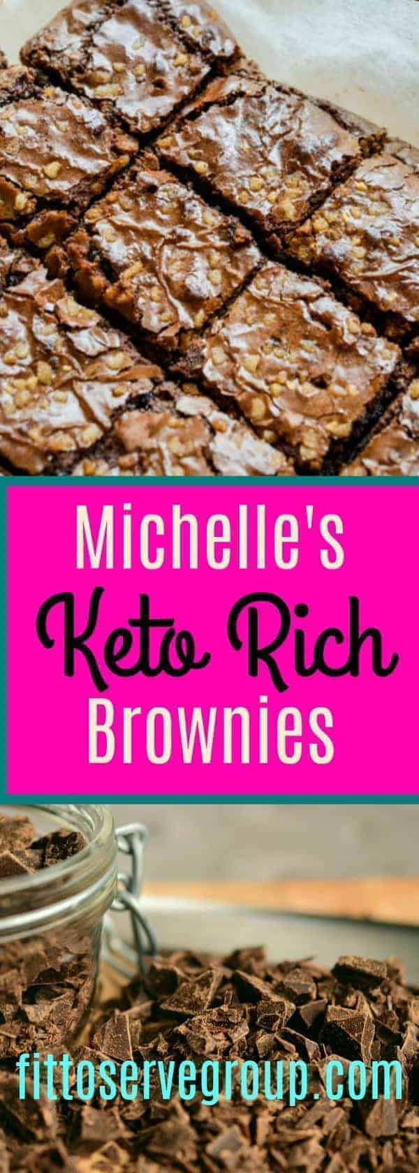 It's a Keto Brownie and it's packed with chocolate flavor. This recipe for Keto Brownies was inspired by my daughter Michelle's favorite traditional brownie. It makes a decadently rich keto-friendly brownie that can rival any high carb brownie #ketobrownie #richketobrownie #lowcarbbrownie #Michelleketobrownies