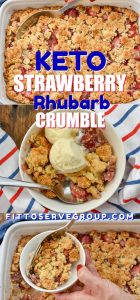 Keto Strawberry Rhubarb Crumble-I've always loved the combination of strawberries and rhubarb but now that I went keto I needed a low carb version of the crumble I used to make when ever rhubarb was in season. #ketostrawberryrhubarbcrumble #ketorhubarbdessert #lowcarbrhubarbdessert