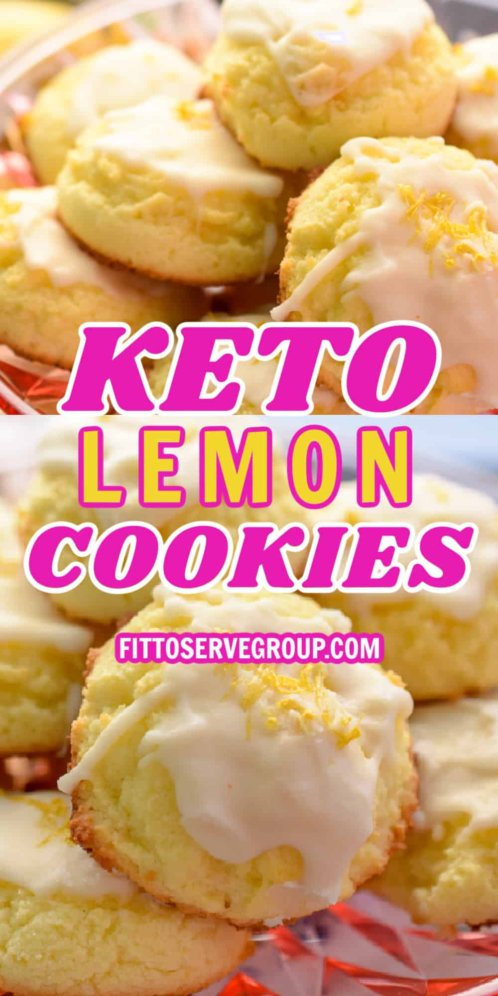 Keto lemon cookies on pink clear plates