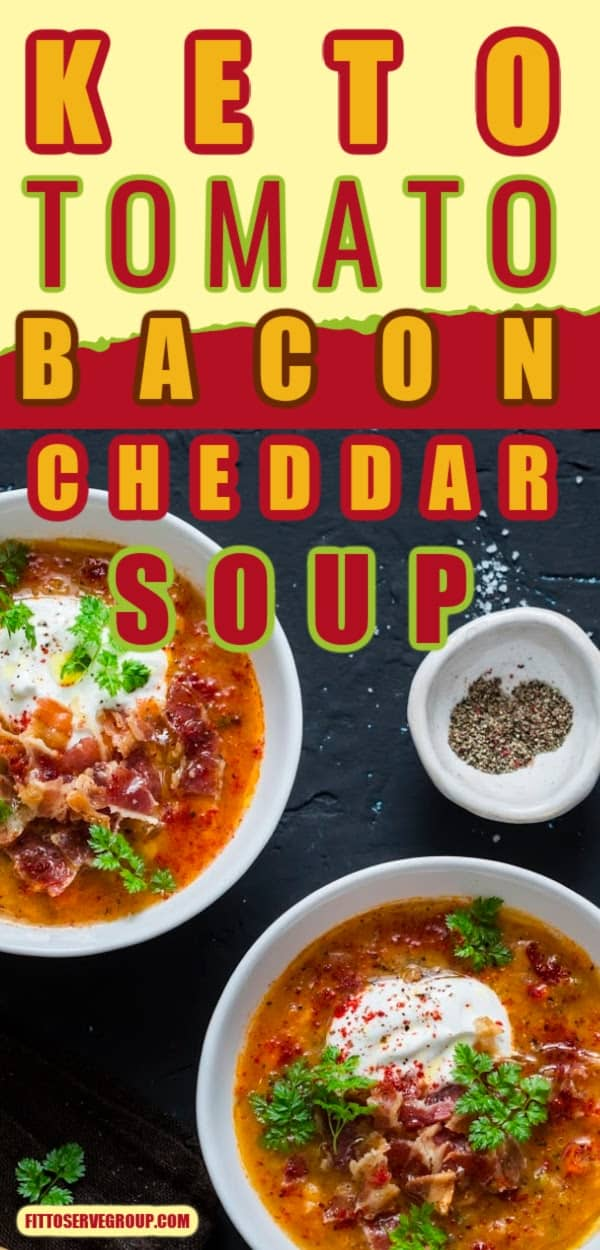Keto tomato bacon cheddar soup in black bowls