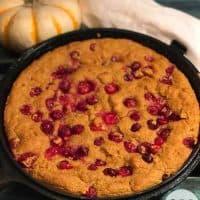 Keto Pumpkin Cranberry Skillet Cake