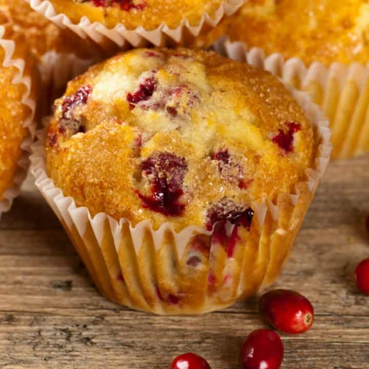 These keto cranberry muffins are a seasonal treat. They are tender, moist and bursting with cranberries.