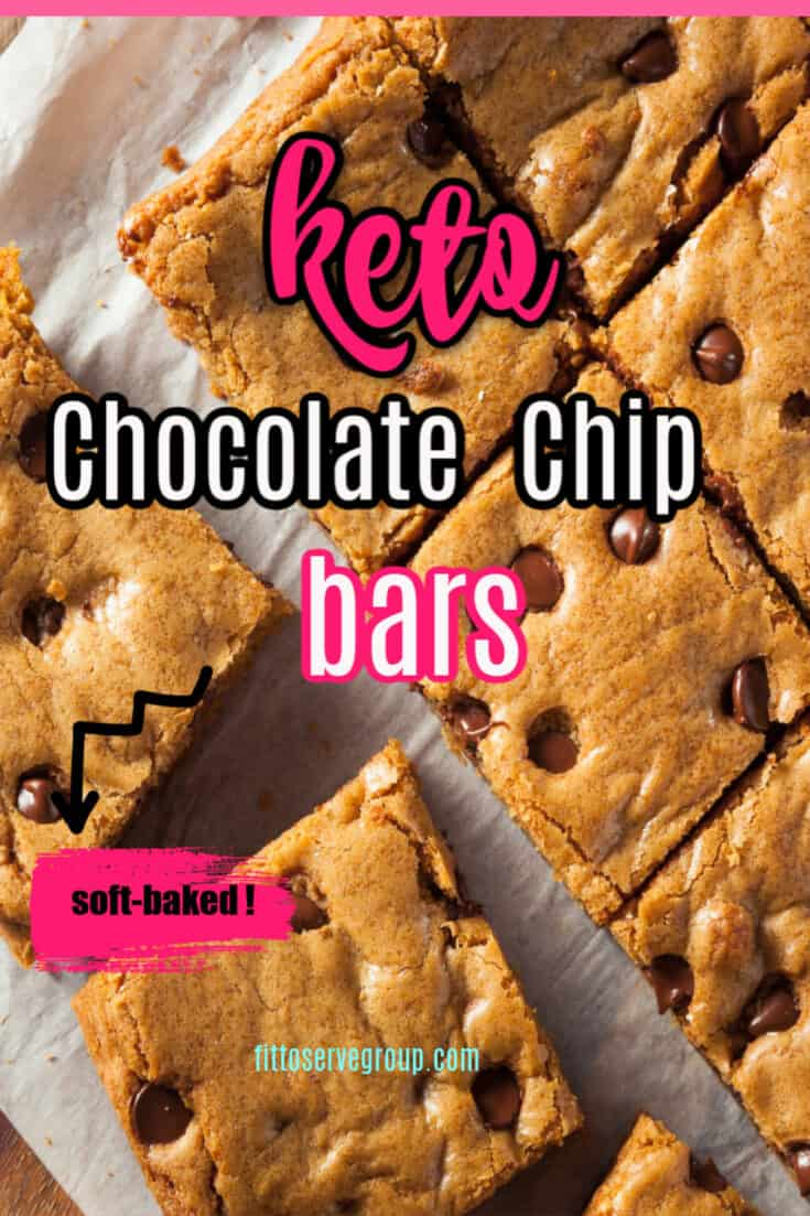 This recipe for Keto Soft Baked Chocolate Chip Bars is the recipe you need if you are craving chocolate chip bars while doing keto. It's low in carbs and keto-friendly and flat-out delicious! #ketochocolatechipbars #ketosoftbakedcookies #ketosoftbakedchocolatechipbars #lowcarbsoftbakedcookies #lowcarbcookiebars #lowcarbcookies #ketocookies #ketocookiebars
