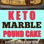 It's a recipe for keto marble pound cake. A marble low carb cake that features the flavor of chocolate, vanilla anda little coffee for a rich pound cake.