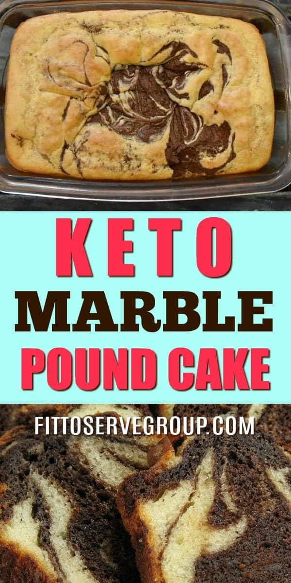 It's a recipe for keto marble pound cake. A marble low carb cake that features the flavor of chocolate, vanilla and a little coffee for a rich pound cake.