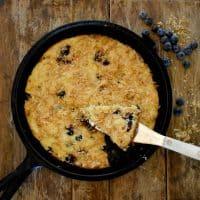 Keto Blueberry Toasted Coconut Skillet Cake