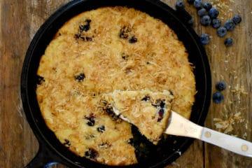Keto Blueberry Coconut Skillet Cake