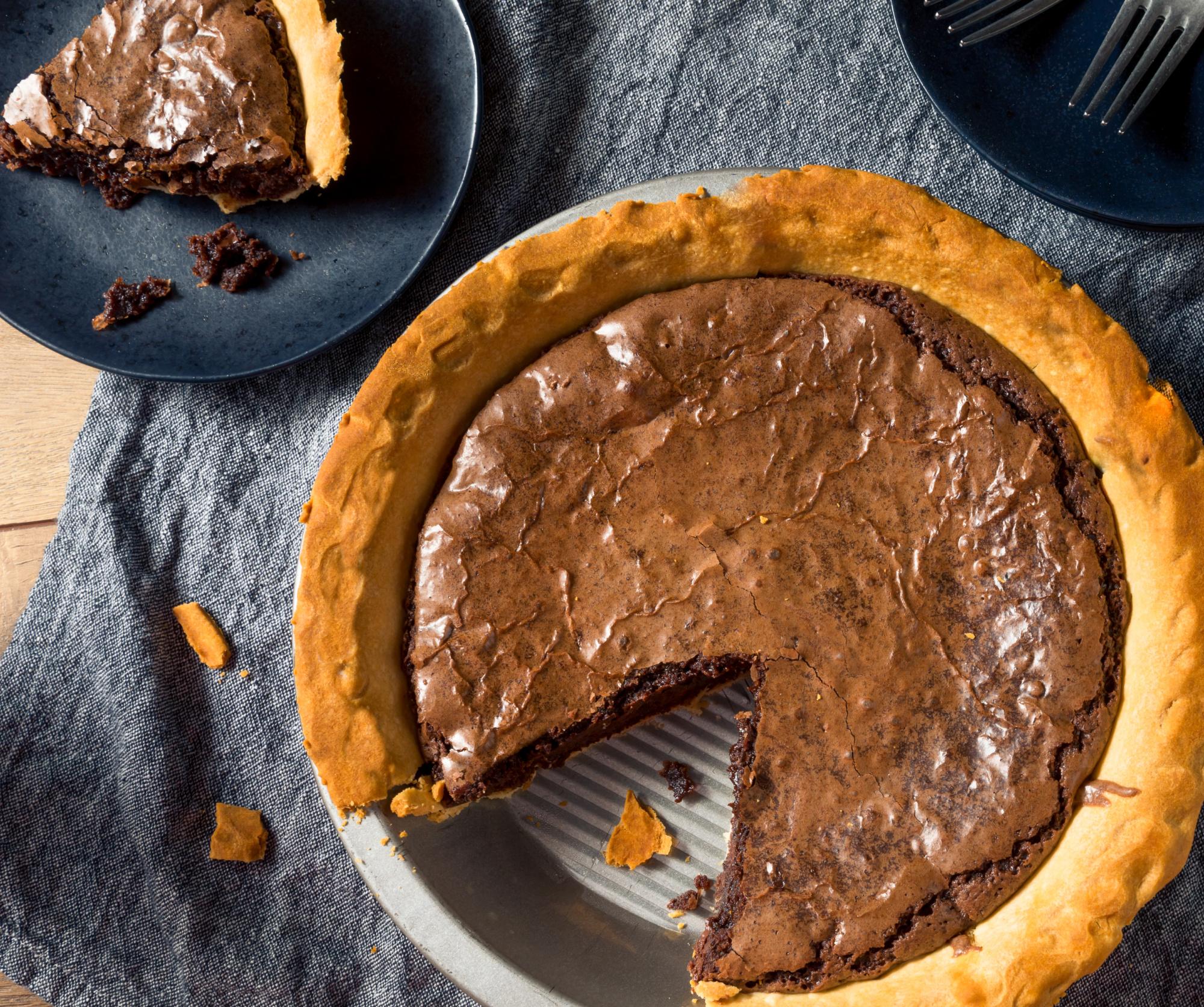 Keto fudge pie sliced and ready to enjoy