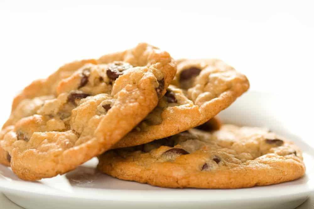best keto chocolate chip cookies in a white plate