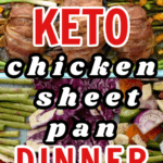 keto chicken sheet pan dinner over low carb vegetables