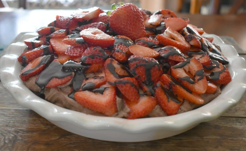 An easy recipe for keto no-bake chocolate strawberry cheesecake