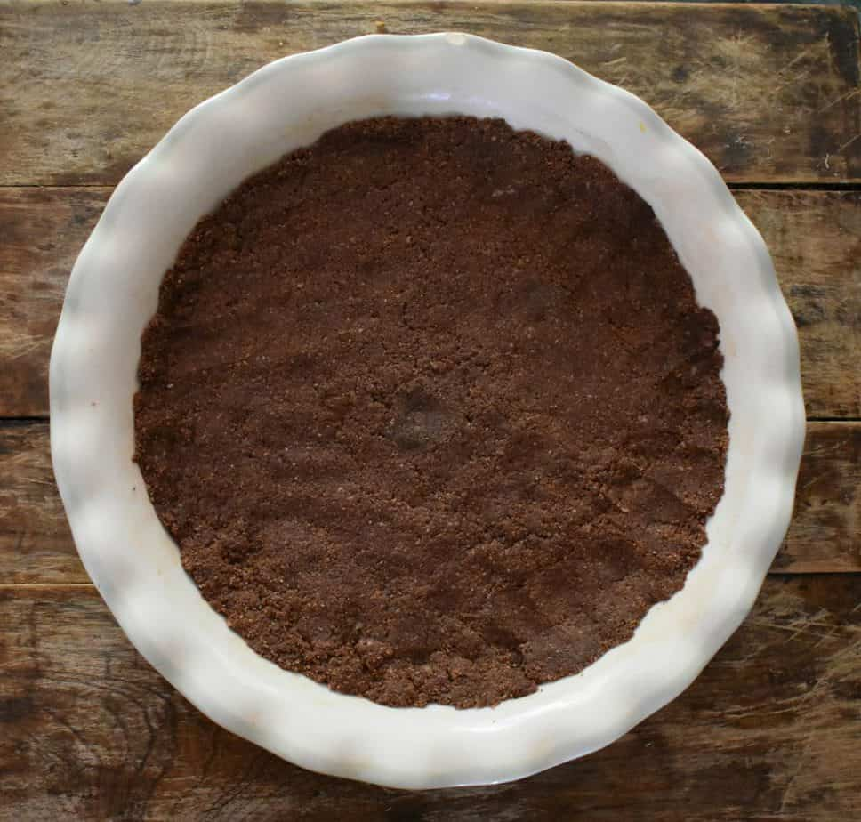 recipe for a keto no bake chocolate crust that mimics an oreo cookie crust