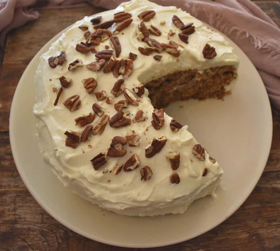 A slice of an ultimate keto carrot cake