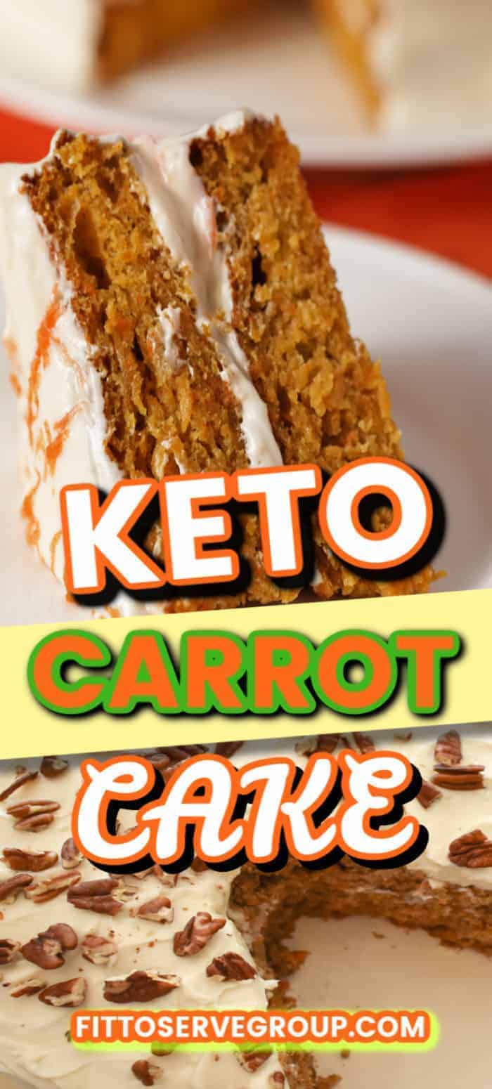 This recipe for keto carrot cake is loaded with spices and topped with a light fluffy cream cheese frosting. Perfect for the carrot cake lover that is doing keto. #ketocarrotcake #lowcarbcarrotcake #sugarfreecarrotcake #grainfreecarrotcake